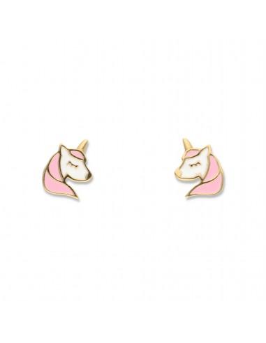 Orecchini unicorno oro e smalto